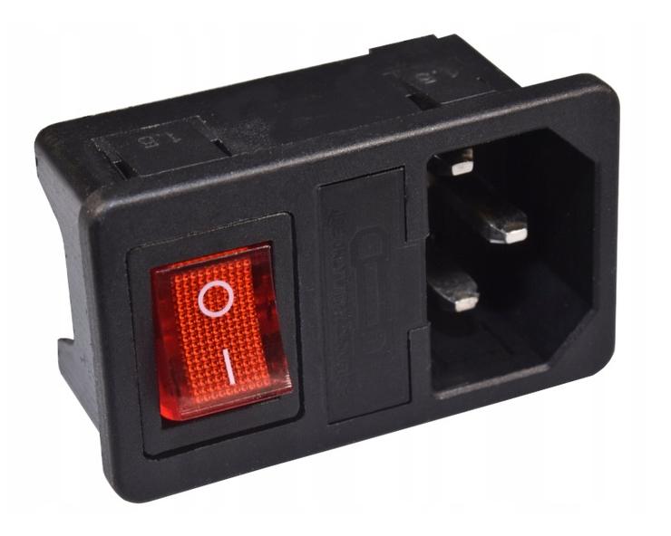 Kaltgeräte Einbau Buchse Gerätestecker C14 mit Schalter 10A 250VAC schwarz 1 St